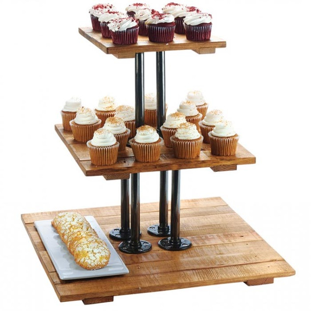 Wood Three Tiered Tray