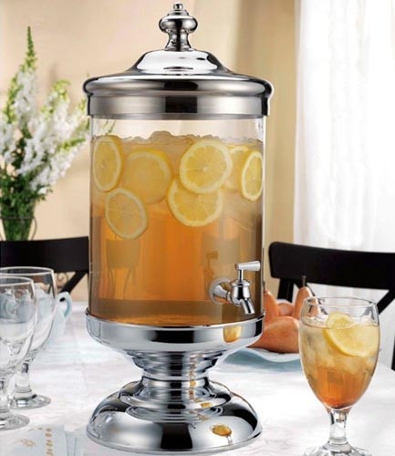 Glass & Chrome Beverage Dispenser, 2.5 Gallon