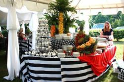 Food table black & white stripe
