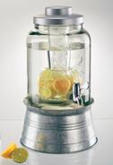 Masonware Chill & Flavor Beverage Server, Galvanized Stand, 2 Gal