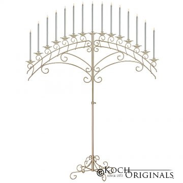 15-Light Fan Floor Candelabra - Gold Lea