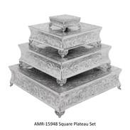 "Polished Alumininum Cake Stands 22"", 18"", 14"", 6"""