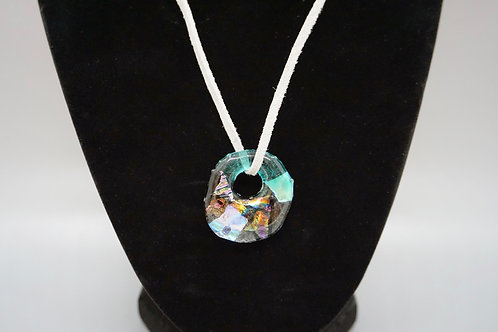 Circle Fused Glass & Gray Soft Suede Cord Necklace