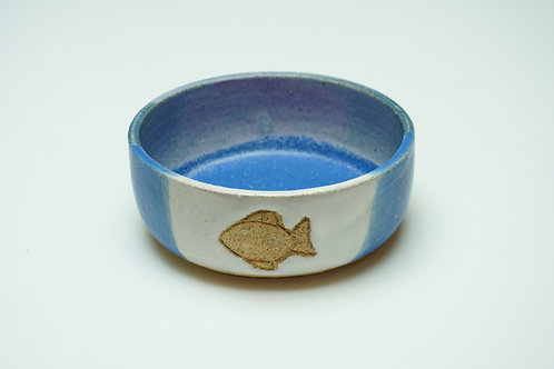 Pet Food Bowl, Fish, Light Blue/white