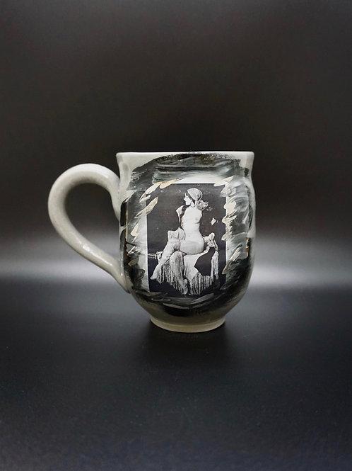Gray Porcelain Vintage Photo Tassels Pin-Up Mug