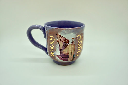 Purple Porcelain Rose Martini Pin-Up Mug