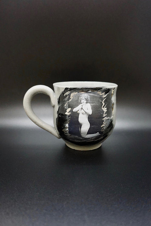 Gray Porcelain Vintage Photo on Knees Pin-Up Mug