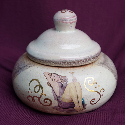 Relaxing Lady Pin-Up Lidded Jar