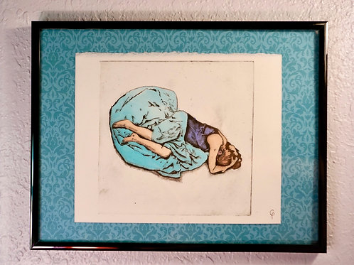 Grieving Woman Pressed Print, Turquoise