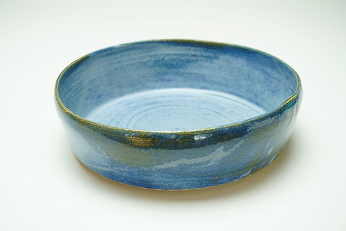 Large Blue Stoneware Pet Food Bowl