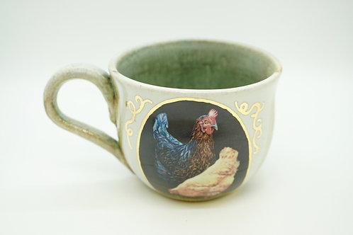Light Teal Chickens Mug