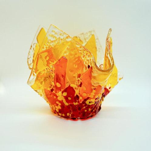Flames Draped Glass Bowl