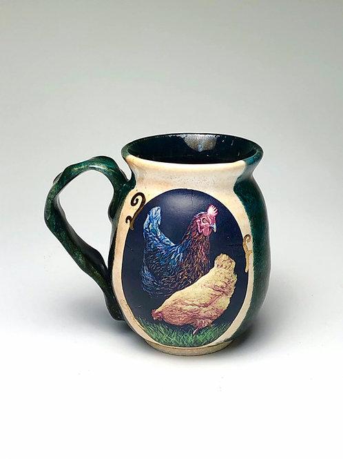 Dark Green Chickens Mug