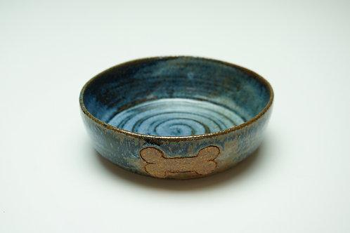 Pet Food Bowl, Bone, Dark Blue