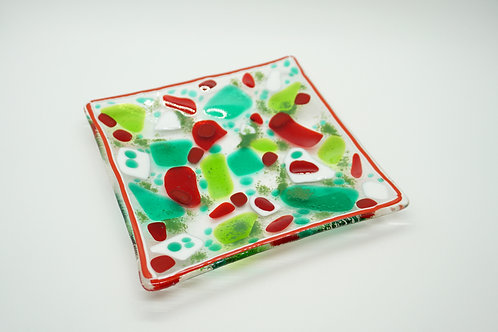 Jolly Christmas Fused Glass Plate