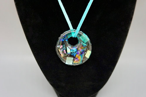 Large Circle (w/Pink Specks) Fused Glass Pendant Necklace