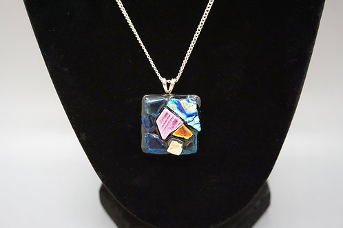 Square Tack-Fused Glass Pendant Necklace