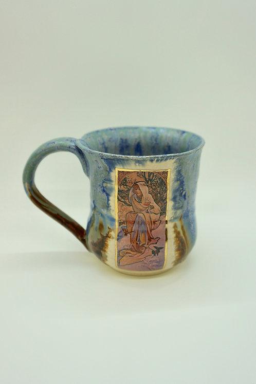 Stoneware Mucha Winter Seasons Mug