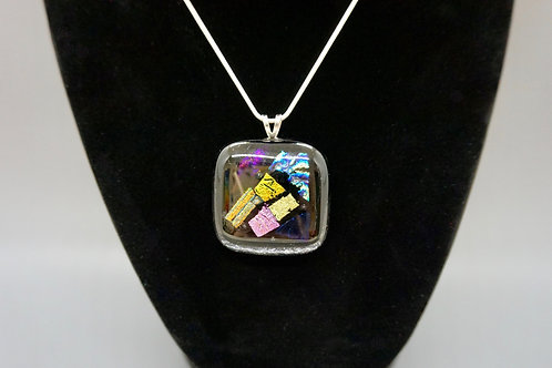 Square Full-Fused Glass Pendant Necklace