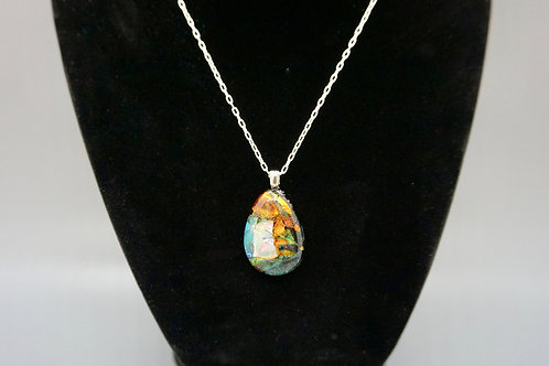 Teardrop Fused Glass Pendant Necklace