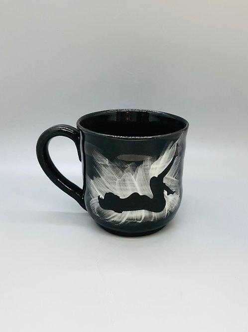 Lovely Lady Black Porcelain Mug, Floorwork