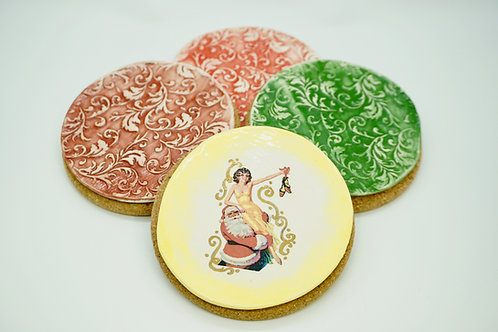 Holiday Coaster Set, Lady with Santa