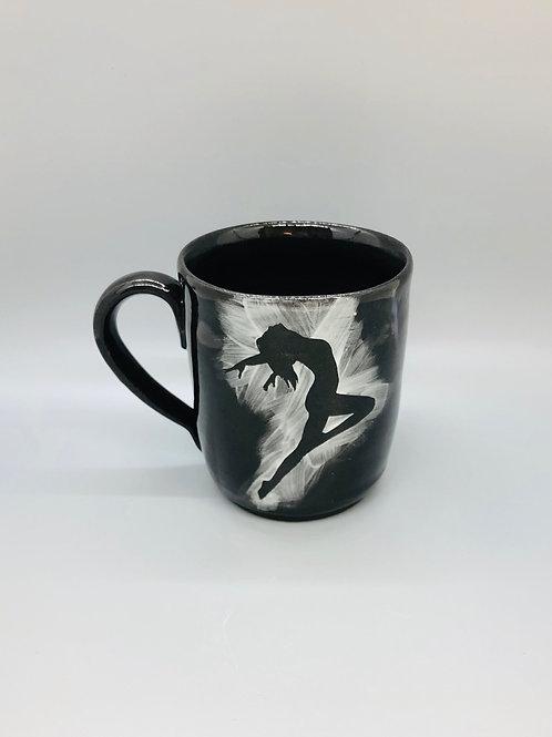 Lovely Lady Black Porcelain Mug, Flying