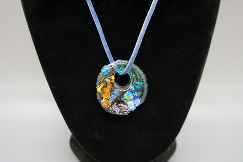 Circle Fused Glass Pendant & Navy Blue Soft Suede Cord Necklace