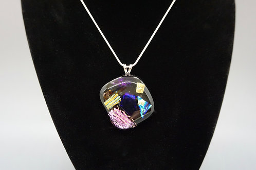 Angled Square Full-Fused Glass Pendant Necklace