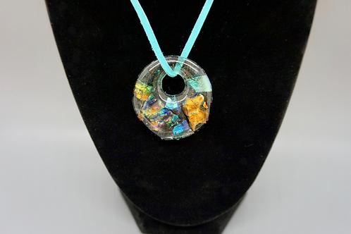 Large Circle (w/Orange) Fused Glass Pendant Necklace