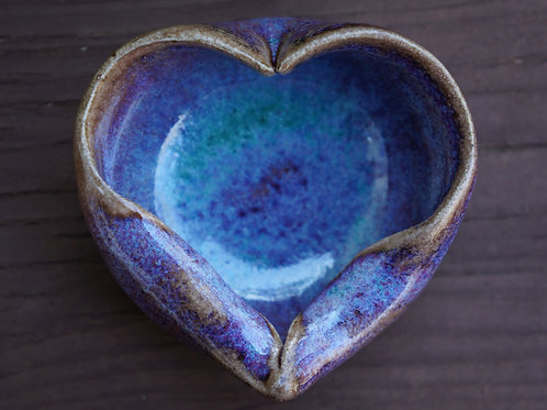 Purple and Teal Heart Little Bowl