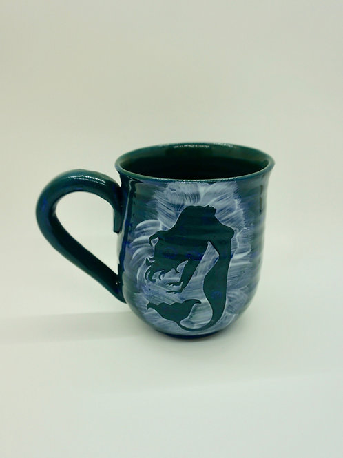 Dark Green Porcelain Mermaid Mug, Look Up