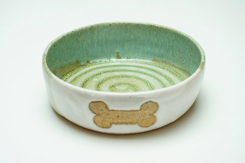 Pet Food Bowl, Bone, White/Green/Teal