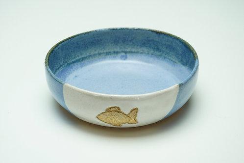 Pet Food Bowl, Fish, Light Blue/White