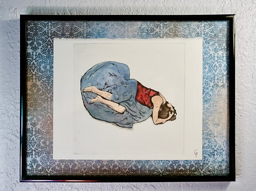 Grieving Woman Pressed Print, Blue Gray