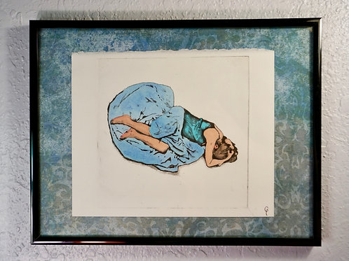 Grieving Woman Pressed Print, Teal & Gray