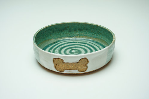 Pet Food Bowl, Bone, White/Teal