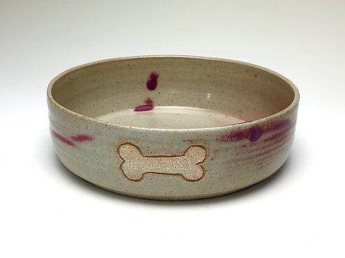 Pet Food Bowl, Bone, Crimson & Cream