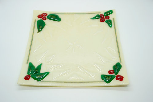 Holly & Ice Fused Glass Plate