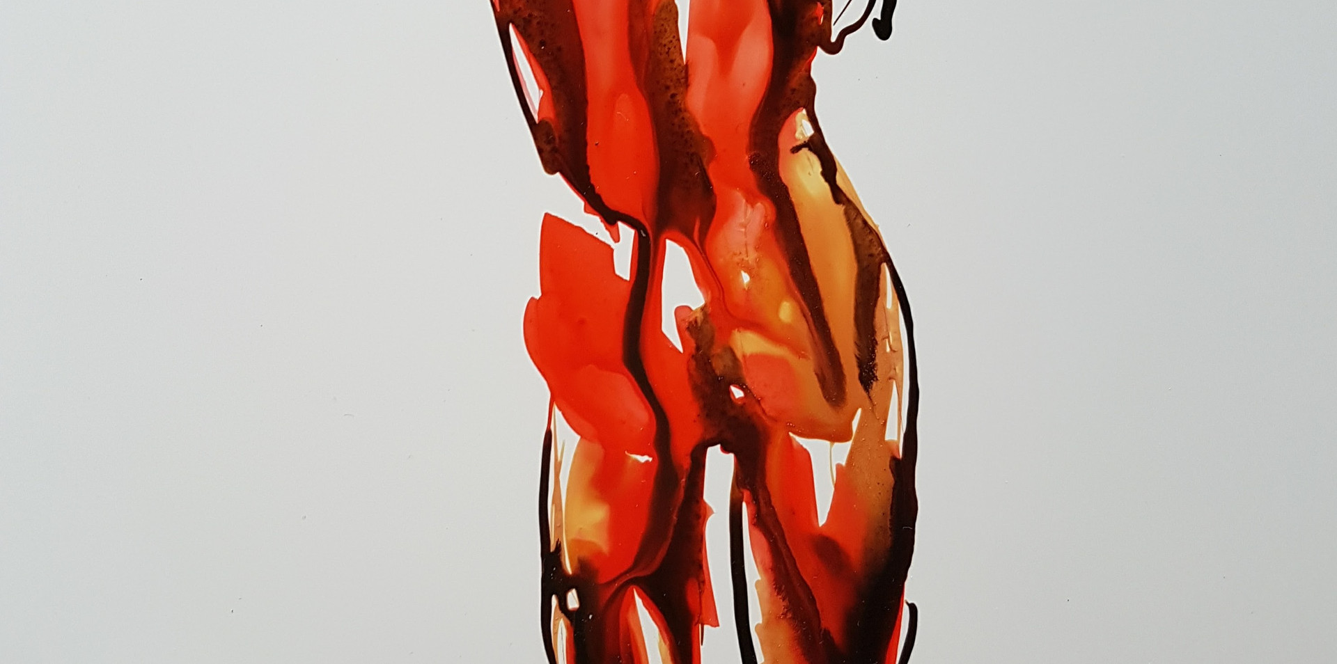 Red Woman Wrapped in Herself