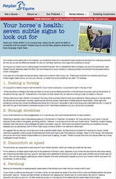 Writing: Petplan website