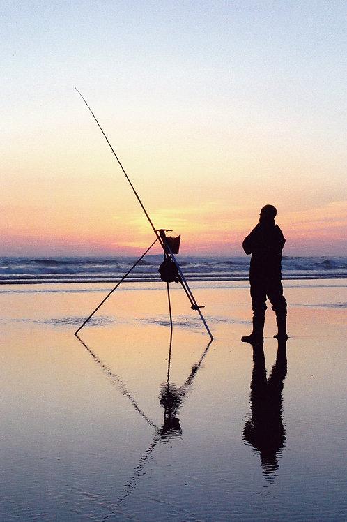 Shore Fishing At Sunset - Cornwall