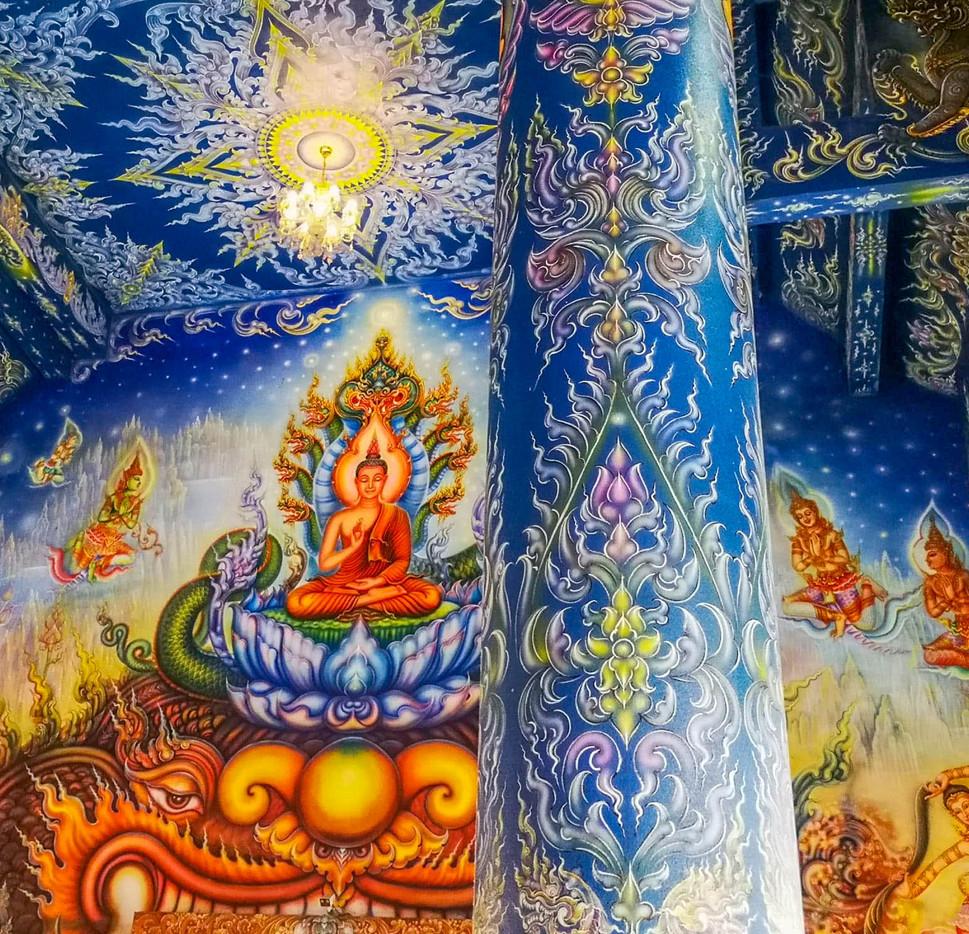 fresques du Temple bleu de Chiang Rai