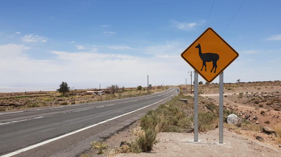Panneau sur la route d'Atacama
