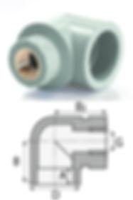 Угольник комбинированный с внутренней резьбой