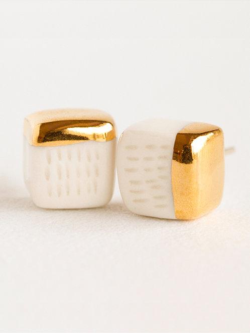 Golden cubes earrings