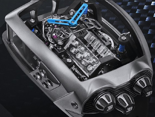 THERE IS A MINI BUGATTI W16 ENGINE IN THIS WATCH