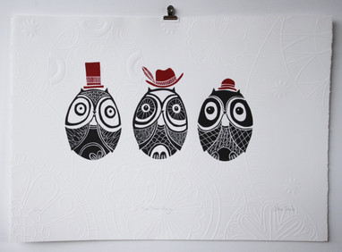 The Three Amigos, wood cut print with embossing, 50 x 70c