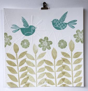 Blue Birds II, wood cut print with embossing, 35 x 35cm