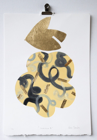 Sakura II, monoprint with gold leaf made in Melbourne, 25 x 17.5cm